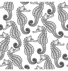 Graphic leafy seadragon seamless pattern vector