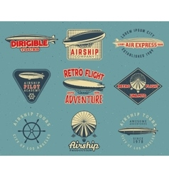 Vintage airship logo designs set retro dirigible vector