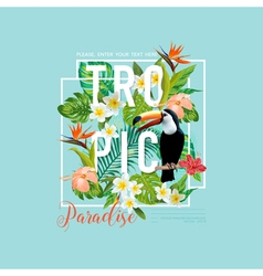 Tropical bird and flowers toucan bird t-shirt vector