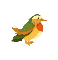 Mandarin duck realistic childish vector
