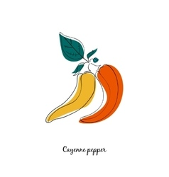 Cayene pepper in cartoon style vector