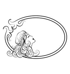 Beautiful antique woman in frame vector image vector image