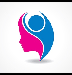 Beautiful woman silhouette with welcoming person vector