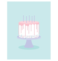 Birthday cake with glaze and candles vector