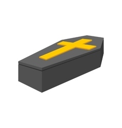 Black coffin isometric 3d icon vector image