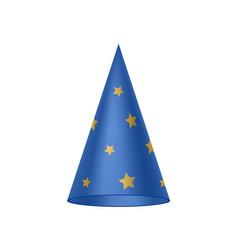 Blue sorcerer hat with golden stars vector