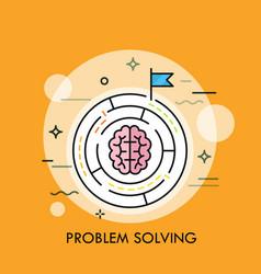 Brain symbol placed inside circular maze concept vector