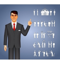 Businessman and peoples icons vector