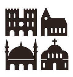 Cathedral church and mosque icons vector image
