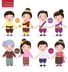 Children of the world Laos Cambodia Myanmar and vector image vector image