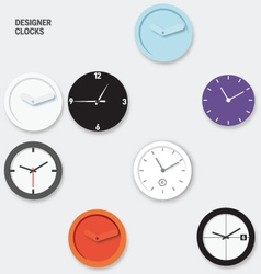 Designer Wall Clocks vector image vector image