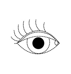 Dotted shape vision eye with eyelashes style vector