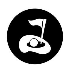 Flag golf hole icon vector