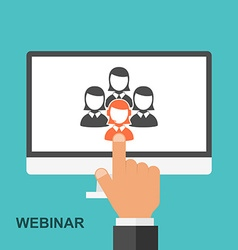 Flat design webinar concept online education vector