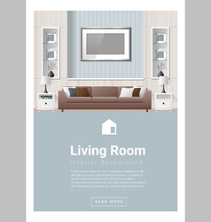 Interior design modern living room banner 2 vector