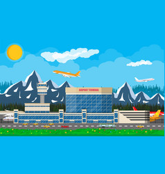 International airport in mountains concept vector