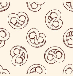 Pattern with sweet pretzel vector