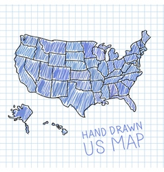Pen drawn USA map on lined paper vector image vector image