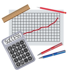 pens ruler and progress chart vector image vector image