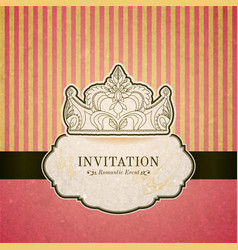 Princess invitation card with crown vector