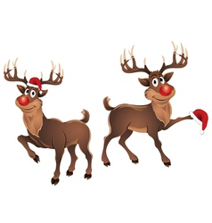 Rudolph the reindeer dancing with hat vector