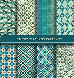 Set of blue white abstract ethnic geometric vector image