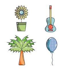 sunflower guitar palm balloon festa junina set vector image vector image