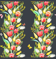 watercolor mimosa and tulip pattern vector image