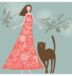 woman and cat vector image