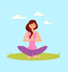 woman doing yoga in the park vector image