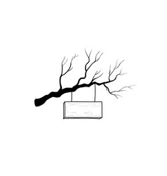 Wooden road sign on tree branch retro engraving vector