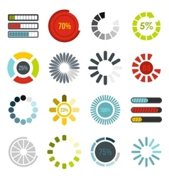 Download progress bar icons set flat style vector