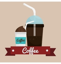 Coffee cup plastic banner graphic vector