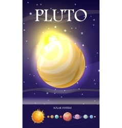 Planet pluto in solar system vector