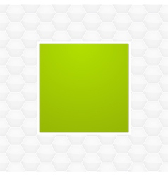 Green panel on white honeycomb background vector