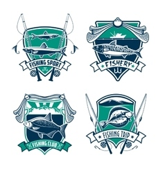 Fishing sport club heraldic badge set design vector