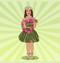 Hawaiian girl with flower necklace pop art vector