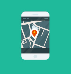 City navigation smartphone app - location on map vector
