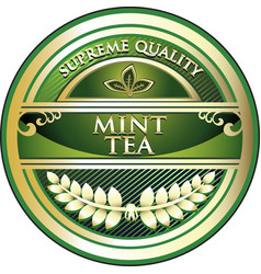 Mint tea gold label vector