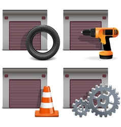 Garage icons set 2 vector