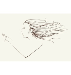 Young girl with long hair carrying butterfly on vector