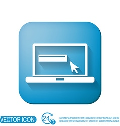 Laptop with symbol web arrow vector