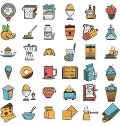 Food flat color icons collection vector