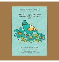 Invitation card with bird vector