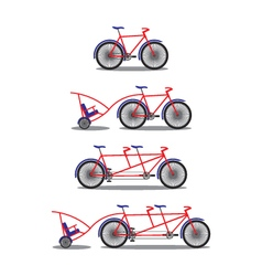 Bicycle and tandem-bicycle various kinds vector