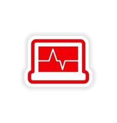 Paper sticker on white background ecg machine vector