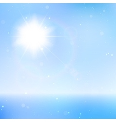 Abstract beautiful sea and sky background with sun vector