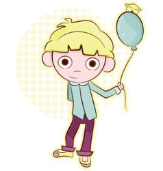Friendly little boy with balloon vector