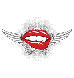Mouth with floral and wings vector