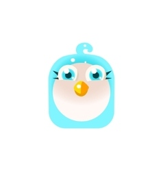 Blue adorable chick square icon vector